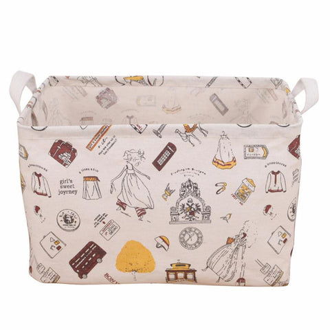 S/M/L Foldable Flower Dest Storage Basket Canvas Laundry Clothes Organize Box with Carry Handle Cartoon Folding Holder Bin Case
