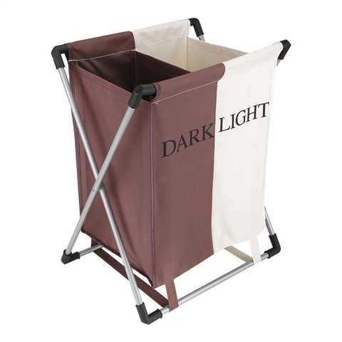 Household Folding Double Laundry Basket 2 Sections Washing Clothes Organizer Storage Bag