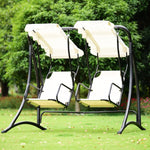 2 Person Hammock Porch Swing Patio Outdoor Hanging Love Seat Canopy Glider Furniture