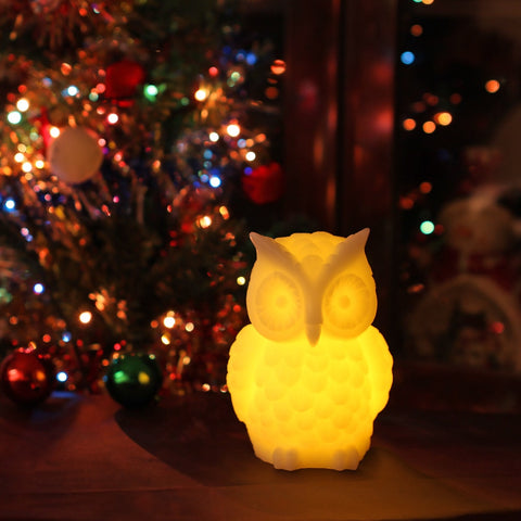 Owl Candle Real Wax Led Flameless Candle with Timer for Halloween and Thanksgiving,White