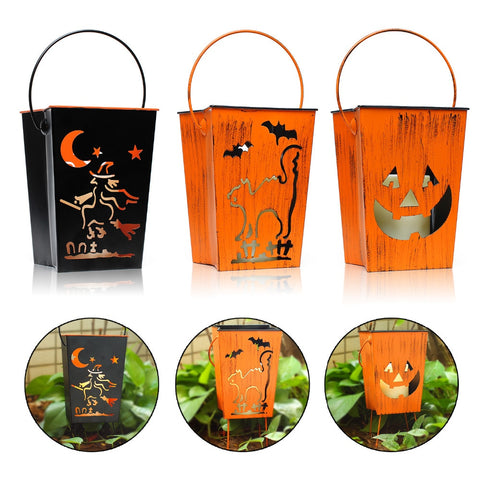 Halloween Decor Lanterns Flameless LED Candle, Witch, Pumpkin, Cat Patterns for Halloween