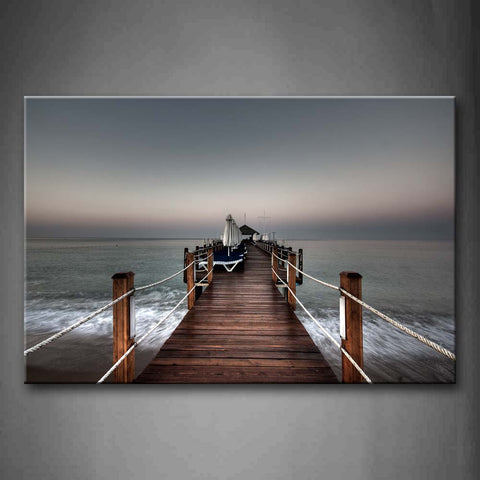 Framed Wall Art Pictures Pier Lake Sky Canvas Print City Modern Posters With Wooden Frames For Living Room Office Decor