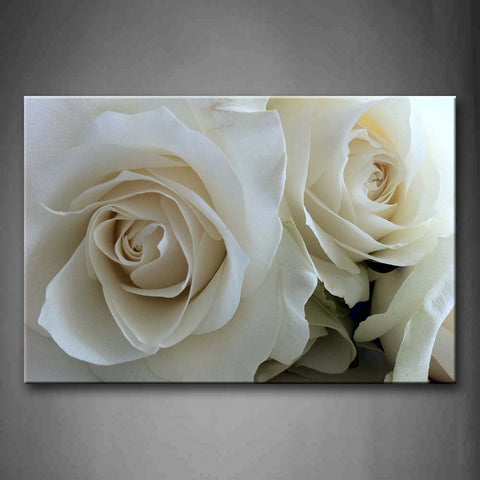 Framed Wall Art Picture White Roses Canvas Print Flower Modern Posters With Wooden Frames For Living Room Office Decor