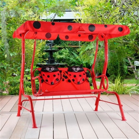 2 Person Kids Patio Swing Porch Bench Canopy Outdoor Garden Patio Chair Lady Bug Pattern