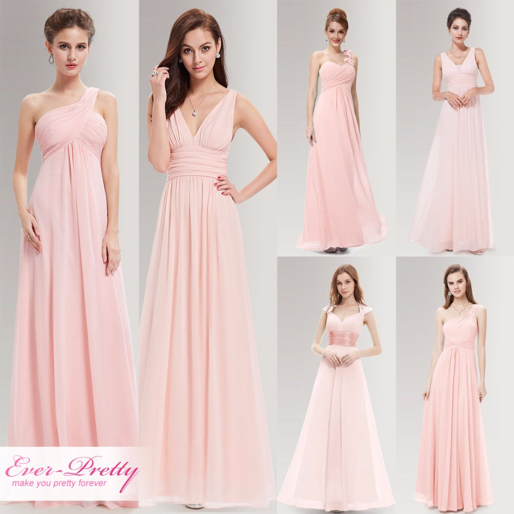 Peachy Pink Long Bridesmaid Dresses A Line One Shoulder Under  50 Ever  Pretty EP09816PK Wedding Guest 494a8083dcd0
