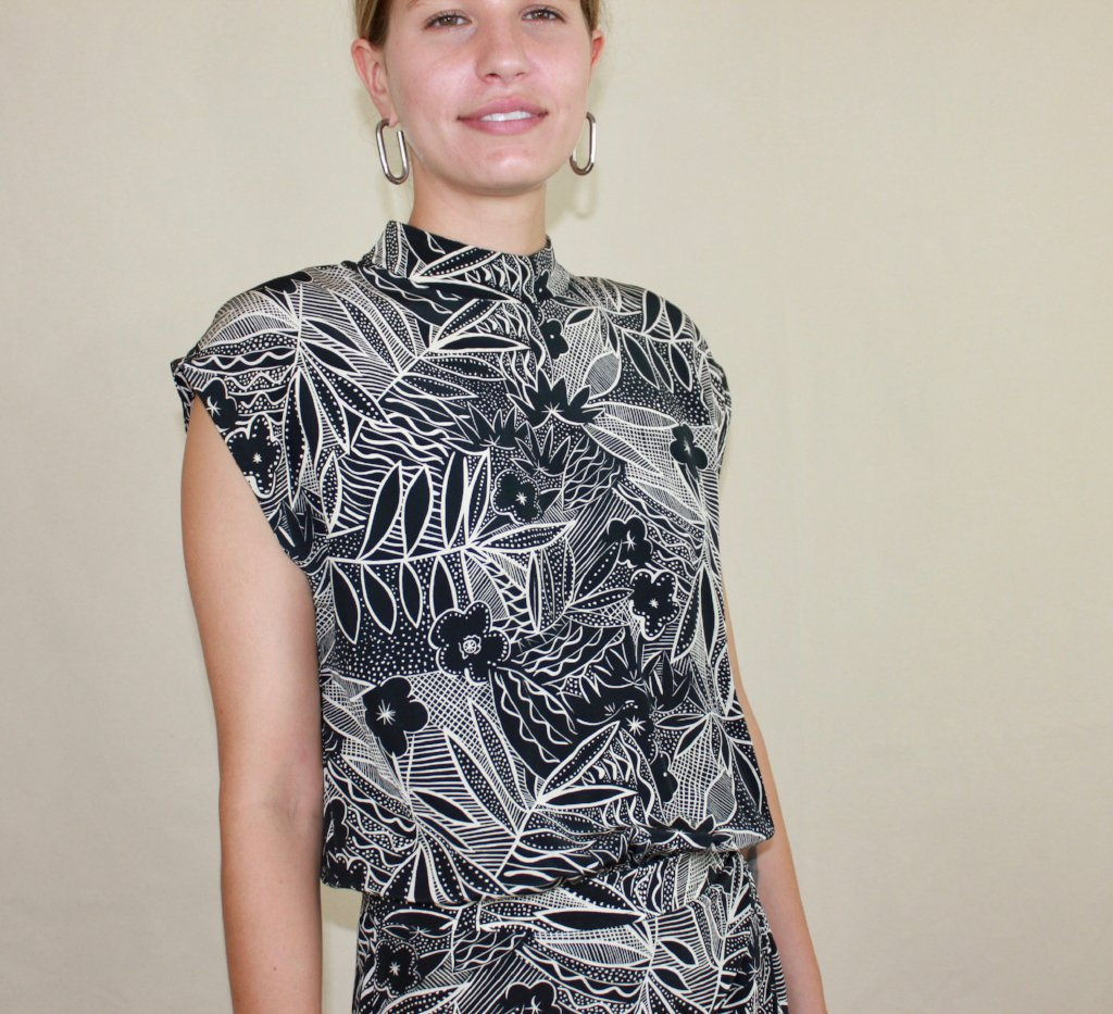 Black & White Silk Floral Dress