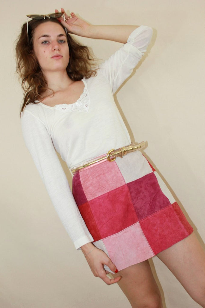 Pink Patchwork Skirt