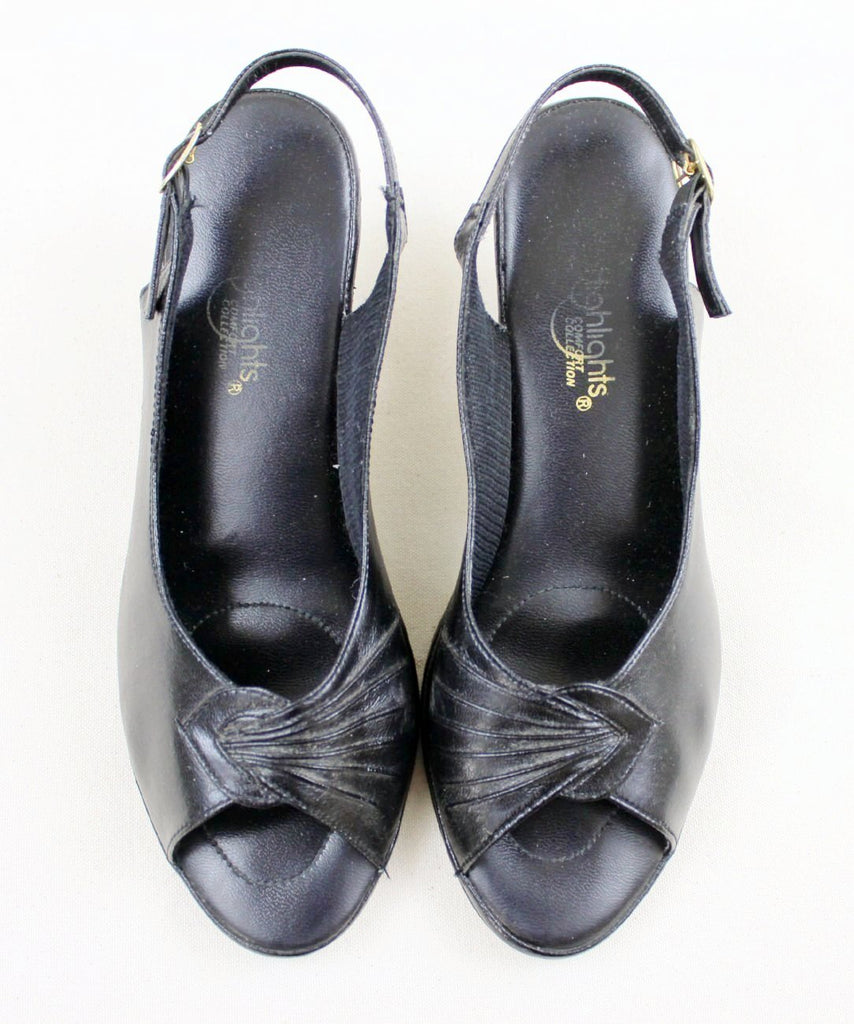 Black Leather Slingback