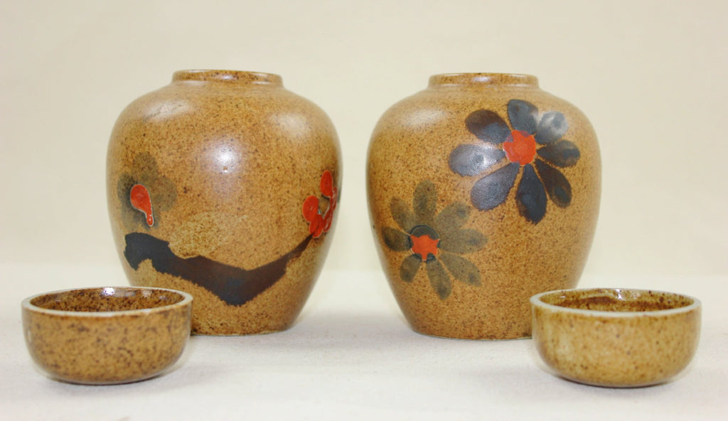 Hand painted sake servers