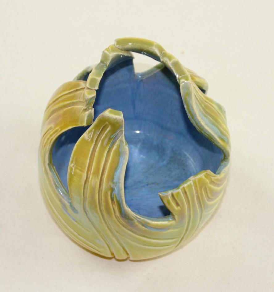Yellow and blue flower bowl