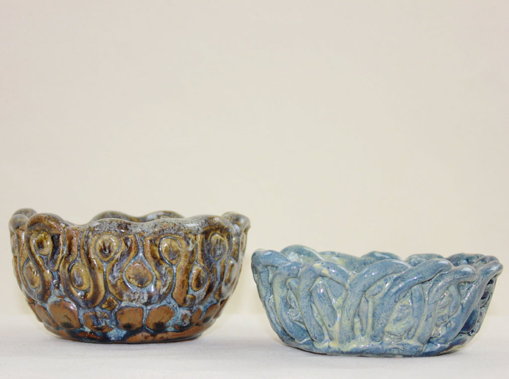 Set of brown and blue chunky bowls