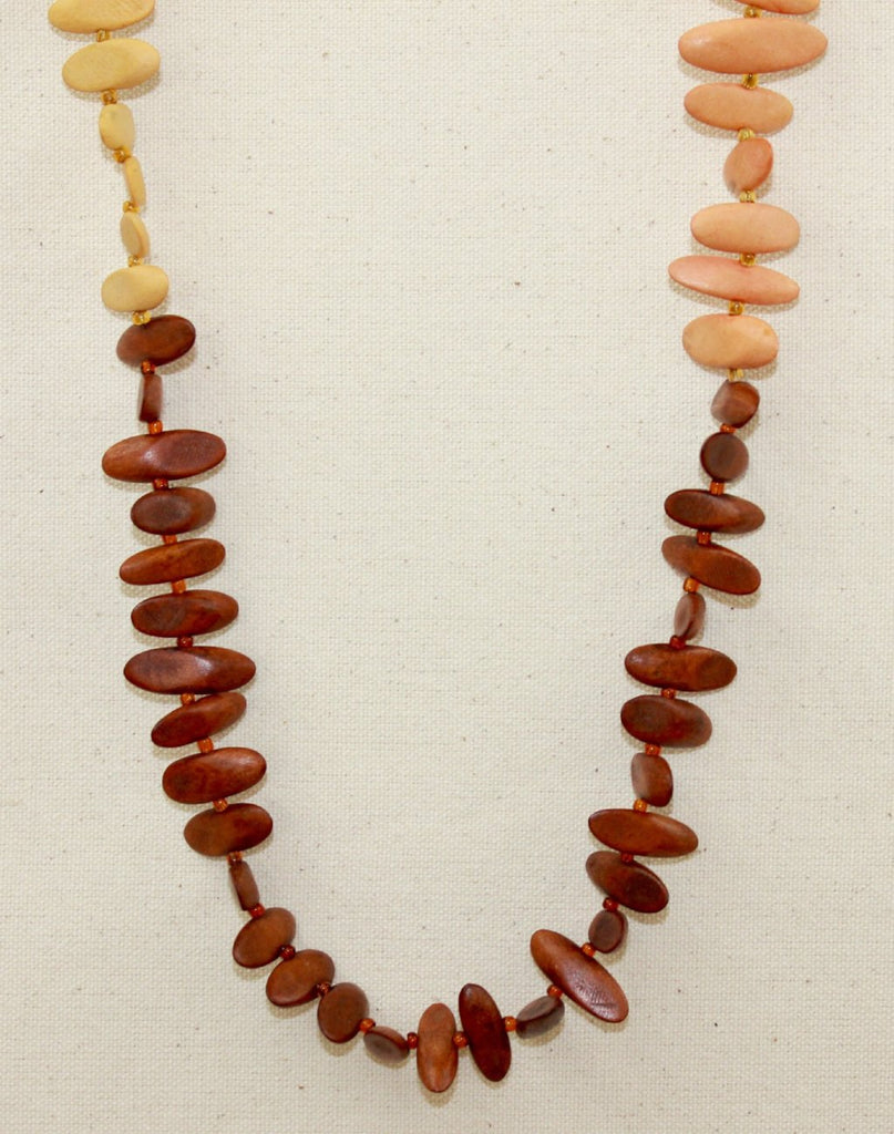 Wooden oval bead necklace