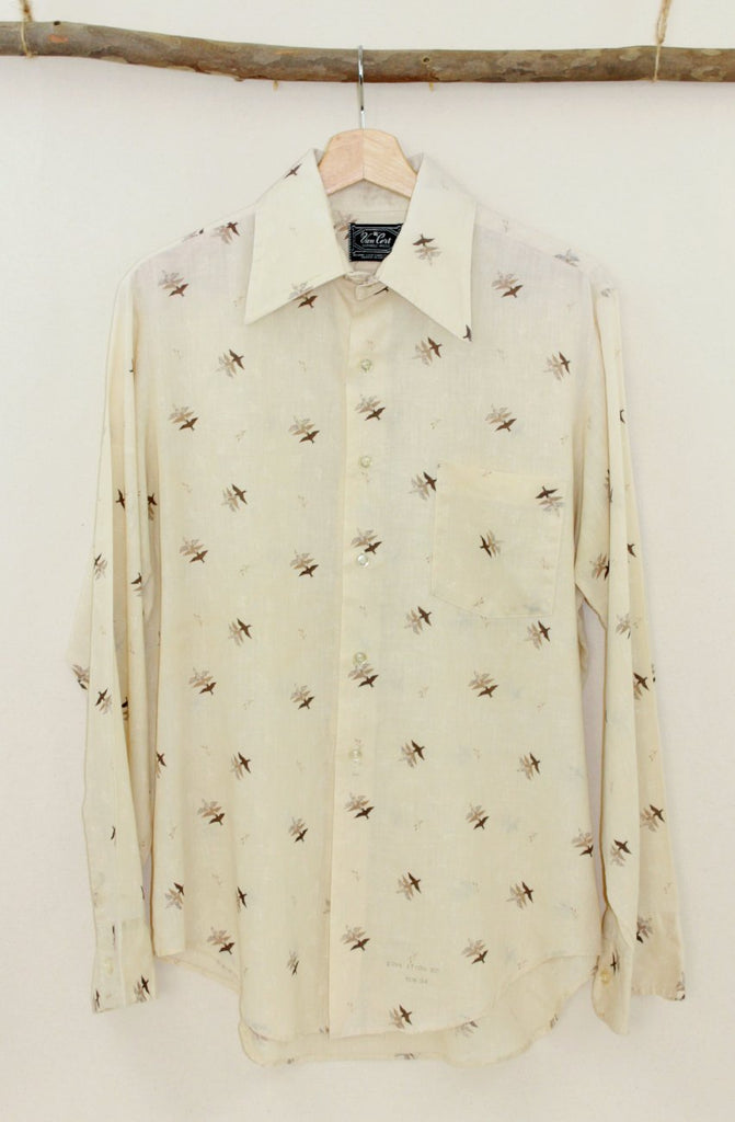 Three bird print button up