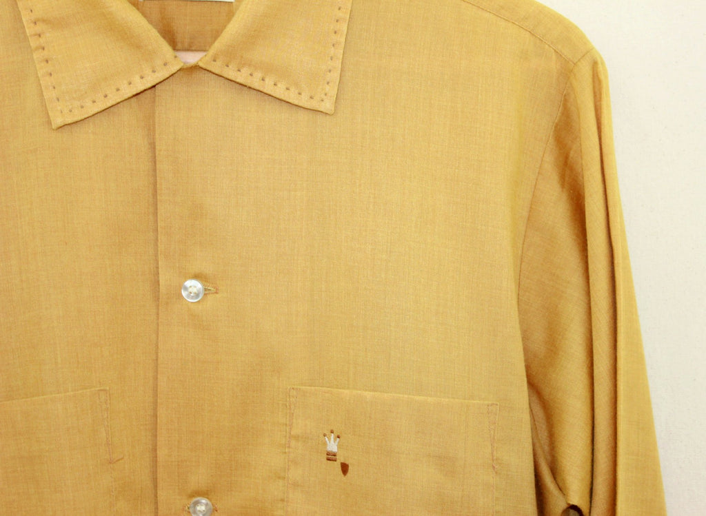 Mustard button down hand stitched collar