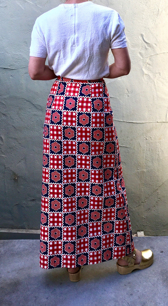 Red white and blue print maxi skirt