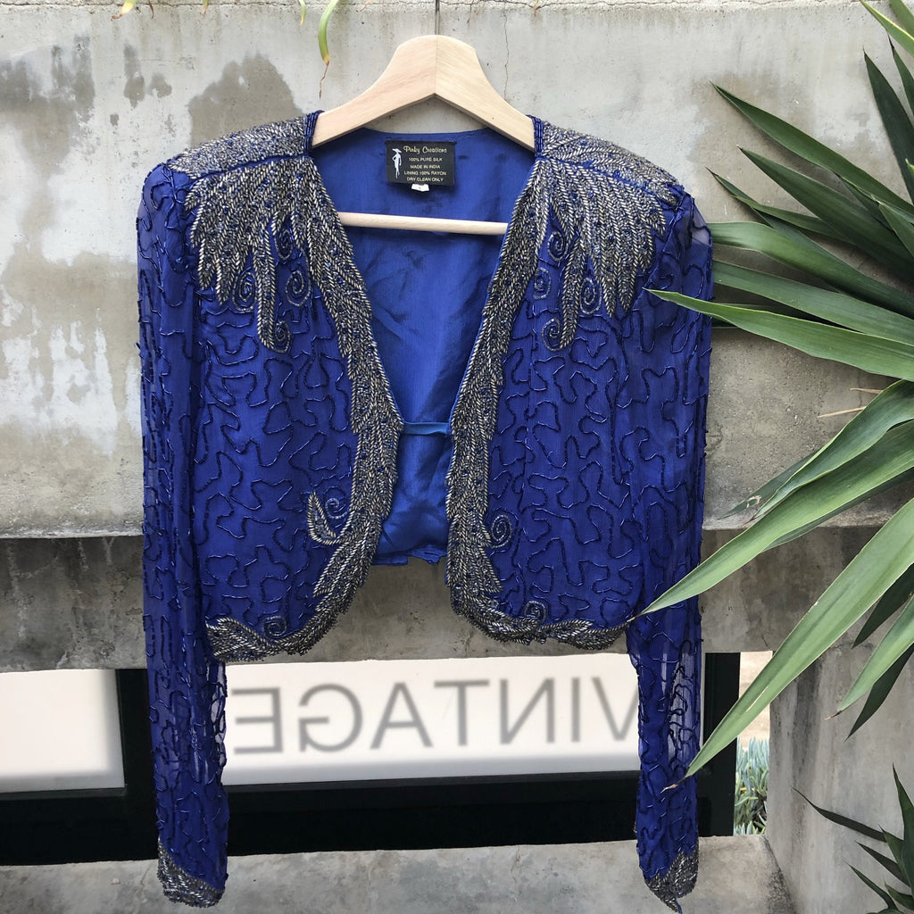 Royal blue beaded bolero