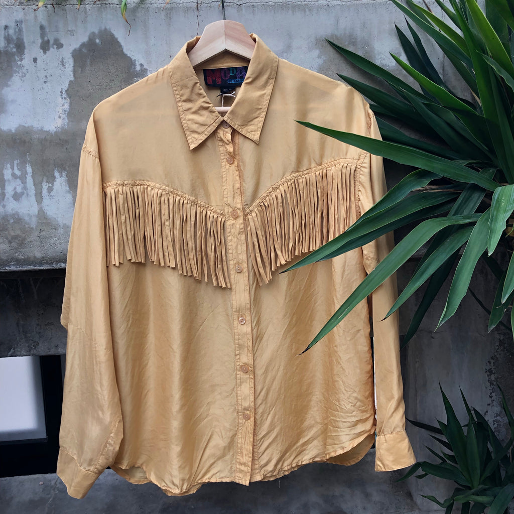Mustard long sleeve silk button up with fringe detail
