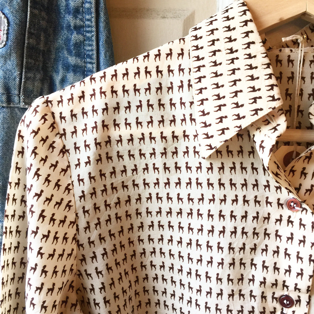 Llama button up blouse