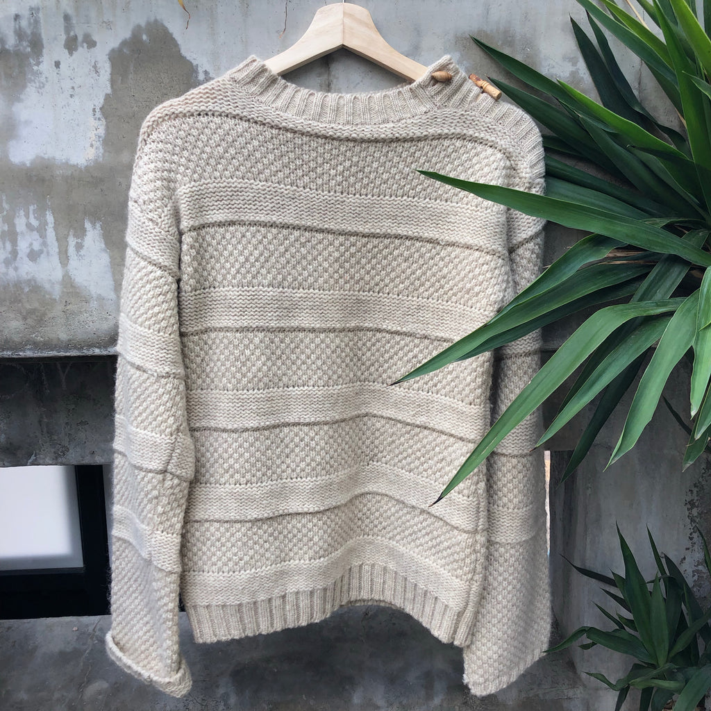 Beige striped knit sweater