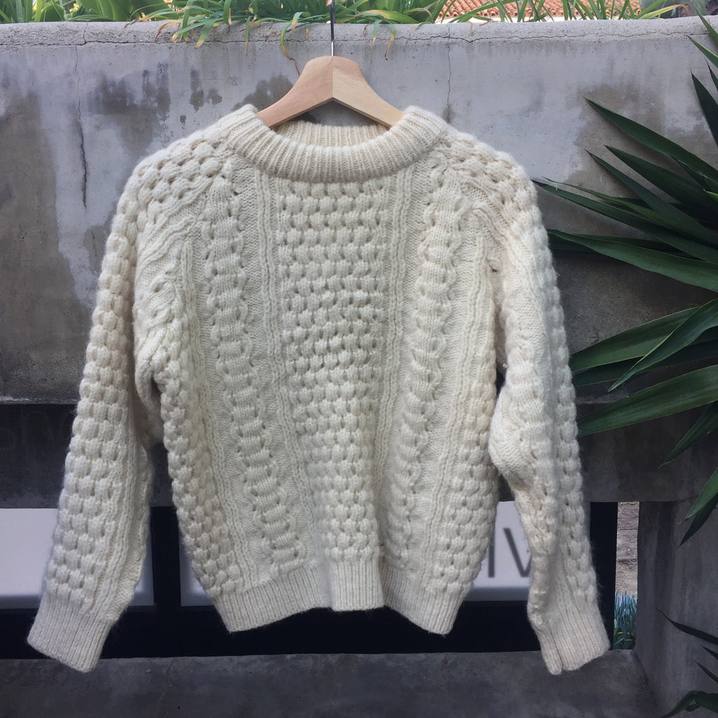 Off-White Cable Knit LL Bean Sweater