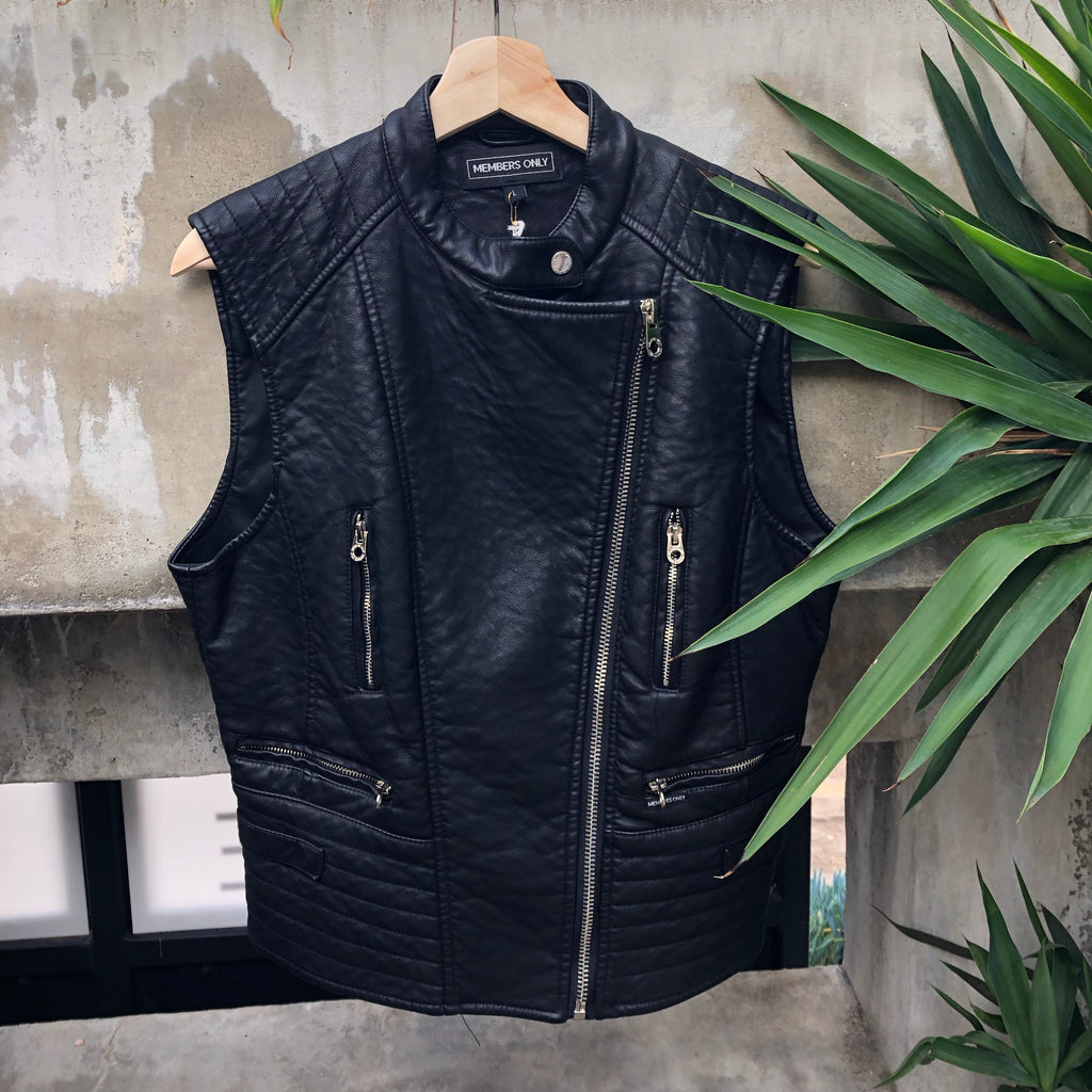 Black vegan leather Members Only vest
