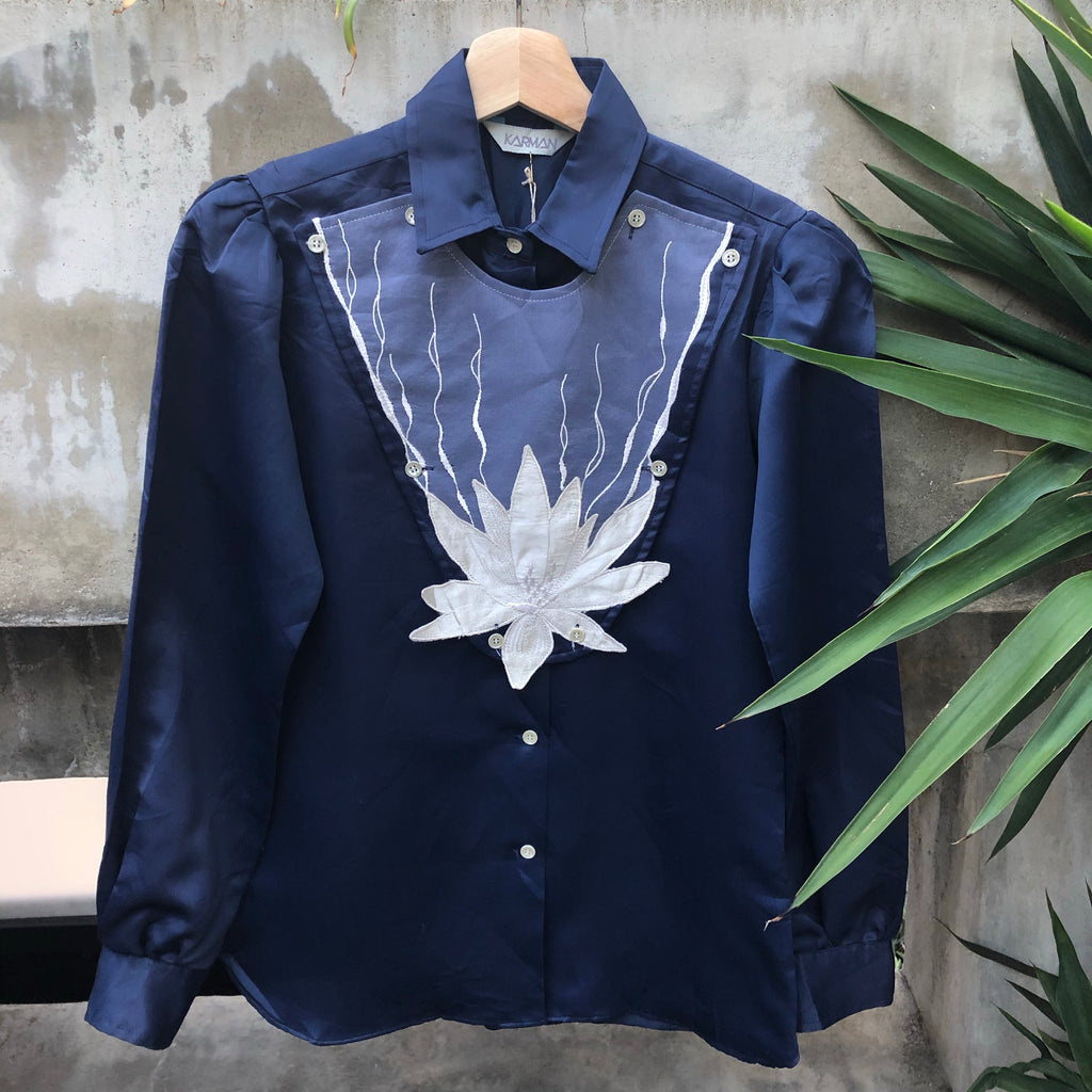Navy blouse with white embroidered removable bibb