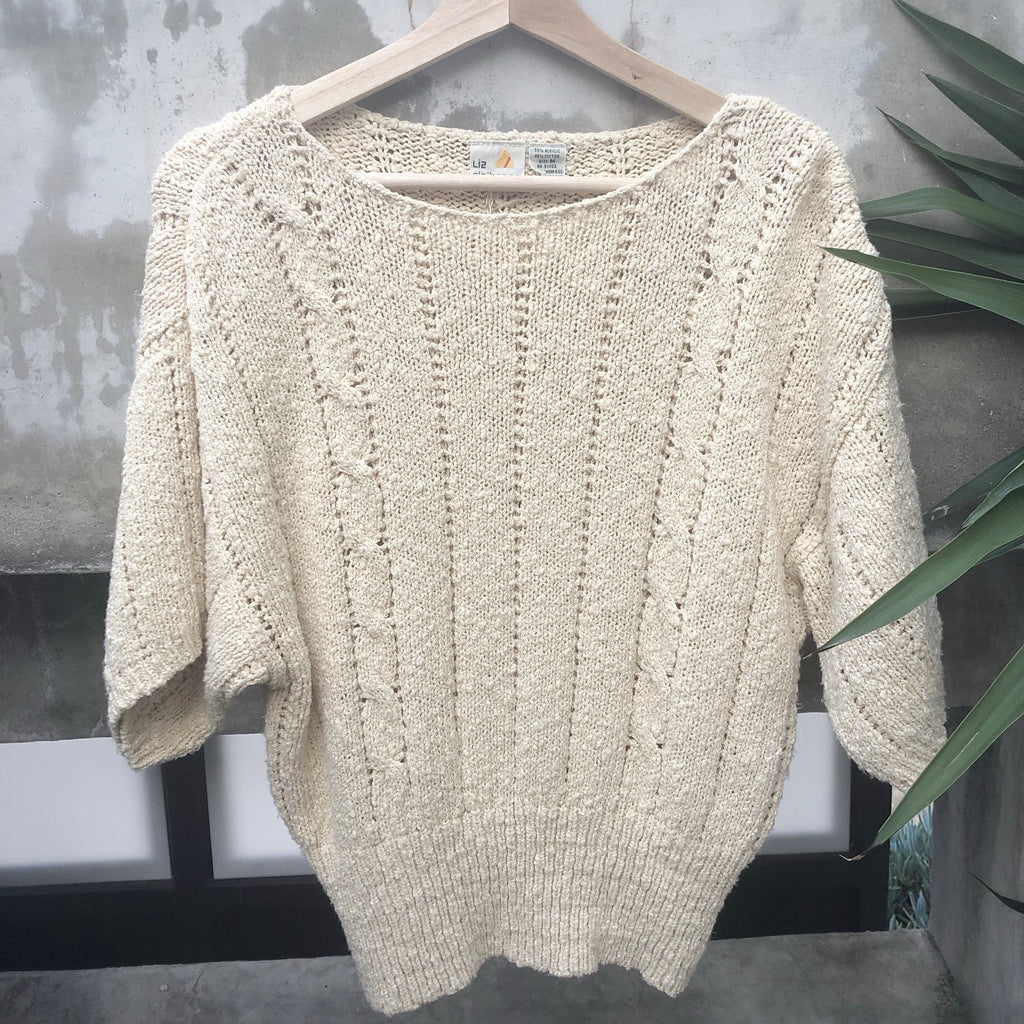 Cream knit short sleeve sweater