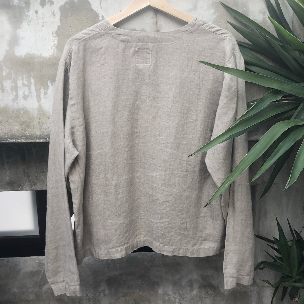 Taupe linen button up