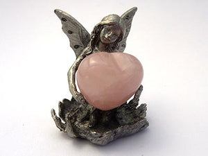 Angel Statue with Rose Quartz Heart