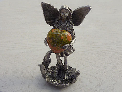 Pewter Standing Fairy Statue with Unakite Heart