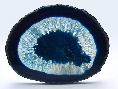 Agate Slice Large U - Dyed Blue