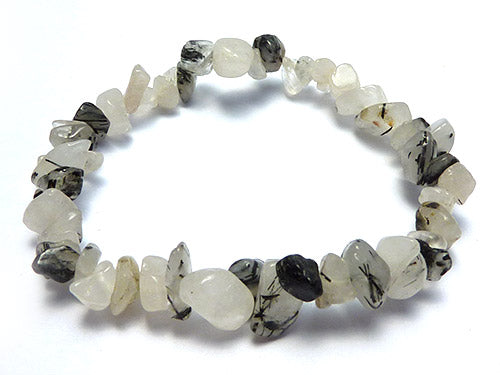 Single Strand Chip Bracelet - Tourmilated Quartz