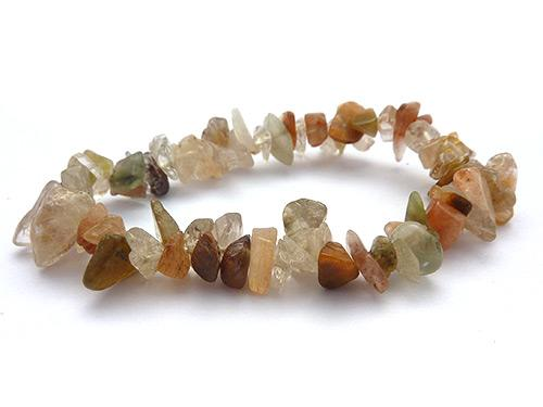 Single Strand Chip Bracelet - Rutilated Quartz
