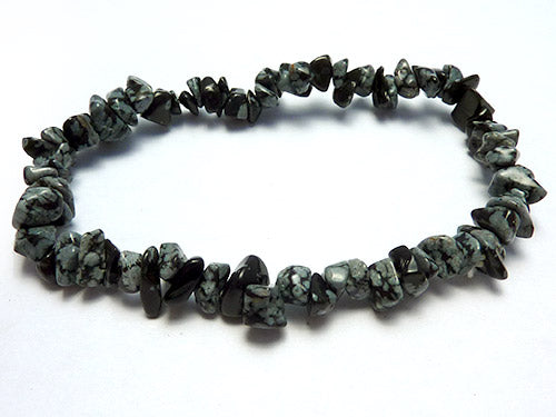Single Strand Chip Bracelet - Snowflake Obsidian