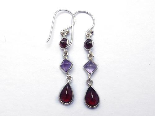 Garnet & Amethyst 3 Stone Earrings