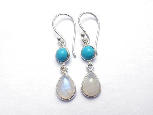 Moonstone & Turquoise Earrings