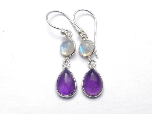 Amethyst & Moonstone Earrings
