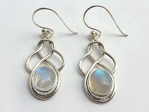 Sterling Silver Rainbow Moonstone Celtic Knot Earrings