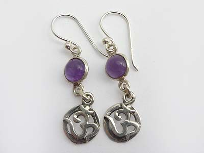 Amethyst Ohm Earrings