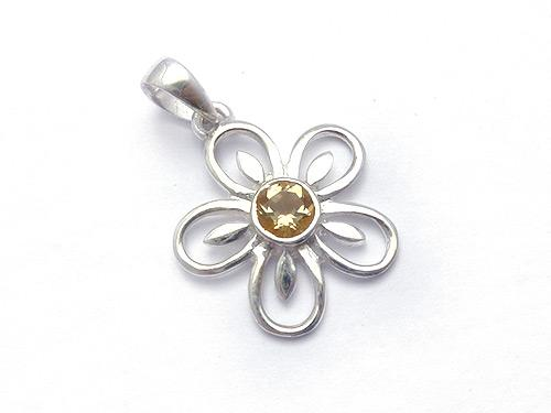 Citrine Flower Pendant