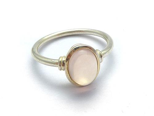 Rose Quartz 2 Line Band Ring