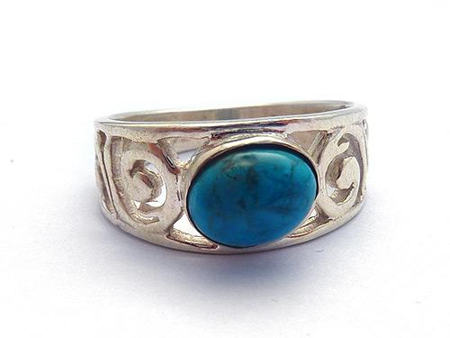 Turquoise Spiral Fillagree Ring - Large