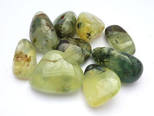 Prehnite with Epidote Tumbled Stones