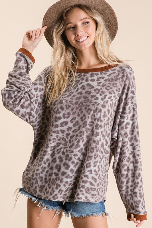 RUST ANIMAL PRINT TOP