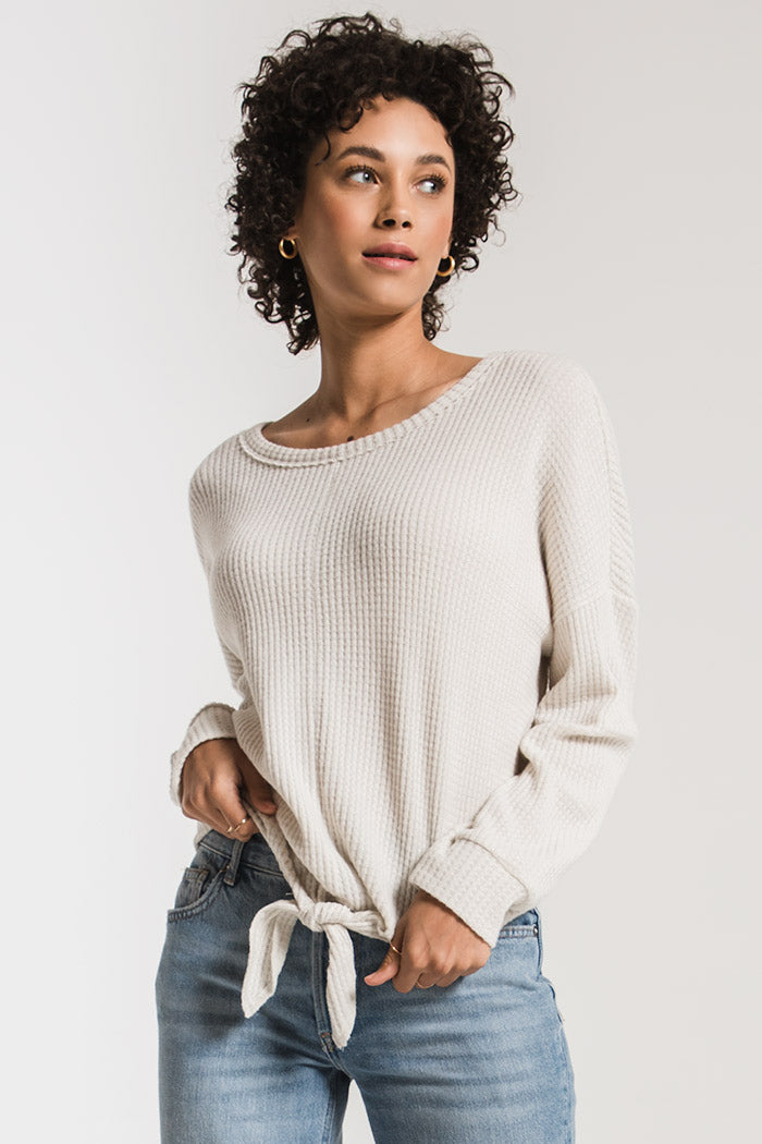 WAFFLE KNIT TIE FRONT TOP