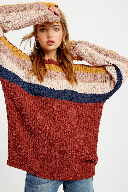 BRICK MULTI STRIPE SWEATER