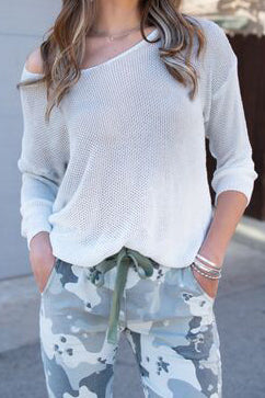 LIGHT GREY OMBRE SWEATER