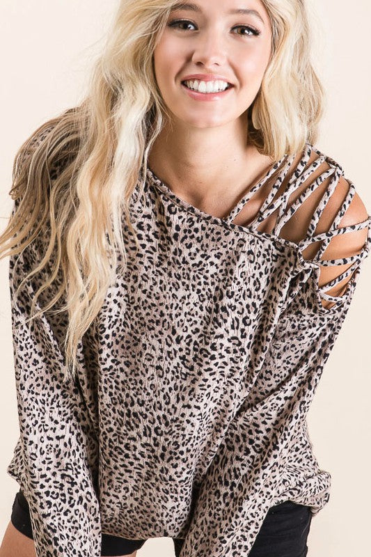 LEOPARD ONE SHOULDER TOP