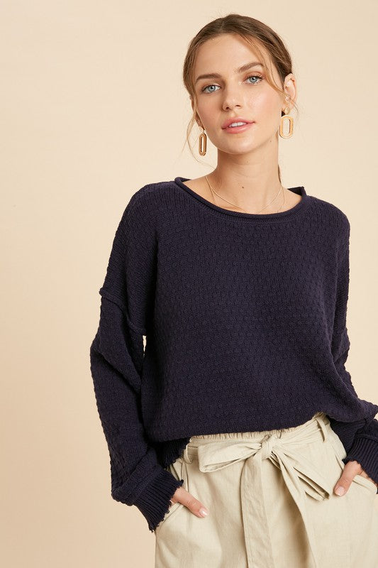 NAVY RAW HEM SWEATER