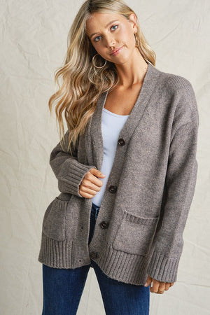 TAUPE SLOUCHY CARDIGAN